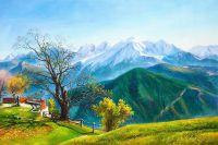Пейзаж маслом Прекрасный вид на горы