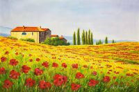 Пейзаж маслом Маковые поля Италии