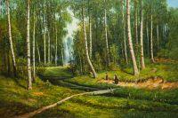 Копия картины Ивана Шишкина Ручей в березовом лесу