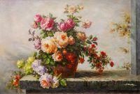 Натюрморт маслом Букет роз с веткой айвы