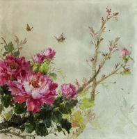 Натюрморт маслом Пионы и бабочки