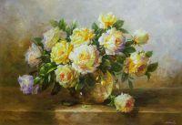 Натюрморт маслом Букет желтых роз