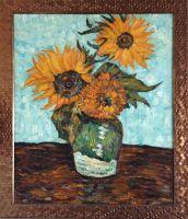 Копия картины Ван гога Три подсолнуха в вазе