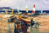 Разноцветные лодки на пляже N2