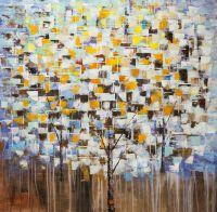 Абстракция маслом Деревья. Осенний снег