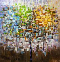 Абстракция маслом Деревья. Времена года N4