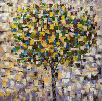 Абстракция маслом Дерево. Осень. Основной не зеленый N3