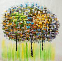 Абстракция маслом Солнечный блик на деревьях