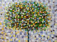 Абстракция маслом Дерево осенью. Листопад