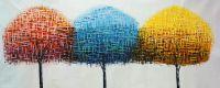 Абстракция маслом Деревья. Желтый, красный, голубой, Не угнаться за тобой