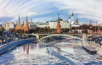 Пейзаж маслом Москва ранней весной. Вид на Кремль