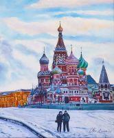 Пейзаж маслом Москва. Зимой на Васильевском спуске