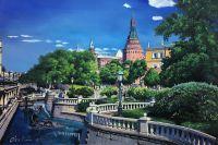 Пейзаж маслом Москва. Вид на Арсенальную башню Кремля из Александровского сада