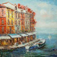 Пейзаж морской маслом Лодки у ресторанной набережной