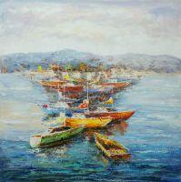 Пейзаж морской маслом Средиземноморье. Парусники и лодки