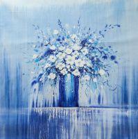 Картина маслом Цветы в стиле Гжель