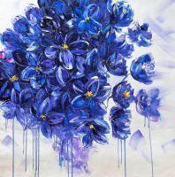 Картина маслом Цветы в оттенке Кобальт