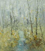 Картина маслом, пейзаж Осенние березы N1