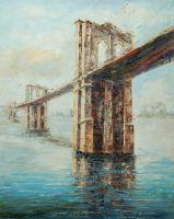 "Картина маслом ""Нью-Йорк,  Бруклинский мост"""