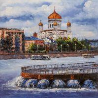 """Картина маслом """"Москва. Вид на Храм Христа Спасителя от Стрелки"""""""