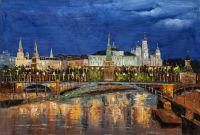 """Картина маслом """"Москва. Вид на Кремль от Пречистенской набережной"""""""