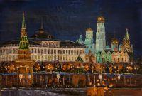 """Картина маслом """"Москва. Ночной вид на Кремль"""""""