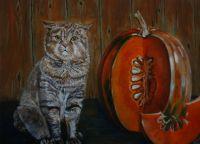Картина маслом портрет кота шотландец, скотиш портрет питомца