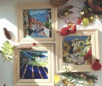 Триптих картины маслом 15 на 15 см дворики Прованса южный пейзаж