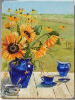 Картина маслом, подсолнухи, лето, натюрморт, деревня, в столовую, на кухню