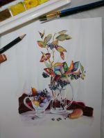 Осенний натюрморт с черноплодной рябиной