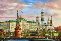 Картина маслом Утро красит нежным светом стены древнего Кремля