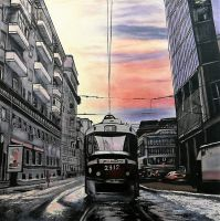 Картина маслом Зимний монохром цвета заката