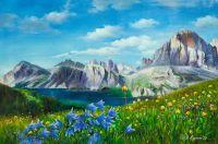 """Летний пейзаж маслом""""Цветы и горы, горы и цветы N1"""