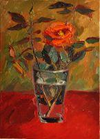 Роза на красном