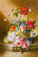 "Натюрморт маслом ""Корзина с цветами и виноградом"""