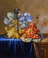"Картина маслом ""Натюрморт с виноградом и бабочками"""