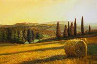 """Картина маслом """"Жаркое солнце в полях Тосканы"""""""
