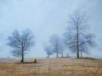"""Зимний пейзаж маслом """"Туман зимним утром"""""""