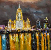 Москва. Ночной вид на гостиницу