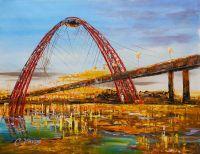 Вечерний вид на мост на Живописной
