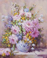 Пионы. Вольная копия картины Ренуара Натюрморт с большой цветочной вазой