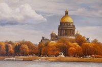 Осенний вид на Исаакиевский собор с Невы