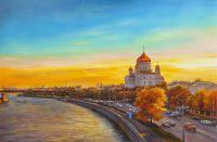Москва. Вид на Храм Христа Спасителя на фоне заката