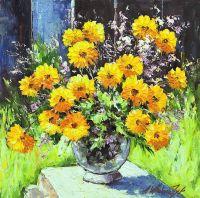 Желтые бархатцы в саду