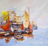 Амстердам. Лодки на фоне города N2