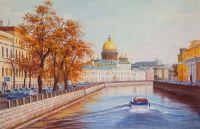 Санкт-Петербург. Вид на Исаакиевский собор через канал