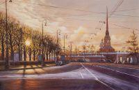 Пустынный Санкт-Петербург на рассвете