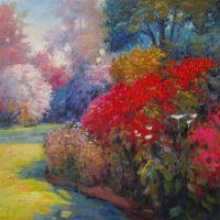 Вольная копия картины Кента Уоллиса (Kent R. Wallis) Цветущий сад