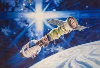 Копия картины Роберта МакКолла Рукопожатие в космосе