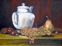 Натюрморт с виноградом и заварником